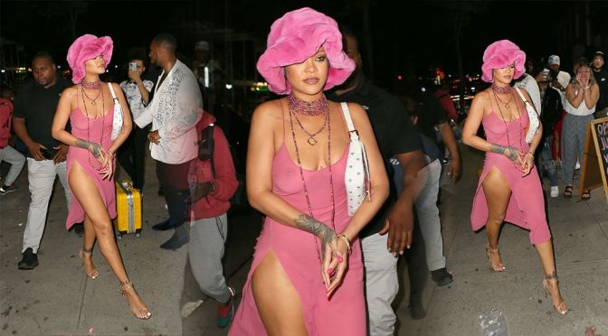 Rihanna – Gorgeous Body in Sexy See-Through Dress at Barcade in New York