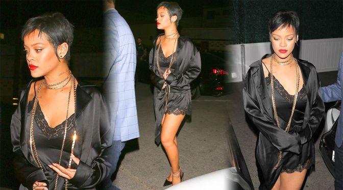 Rihanna – Beautiful in  a Sexy Black Dress at Delilah Nightclub in West Hollywooda