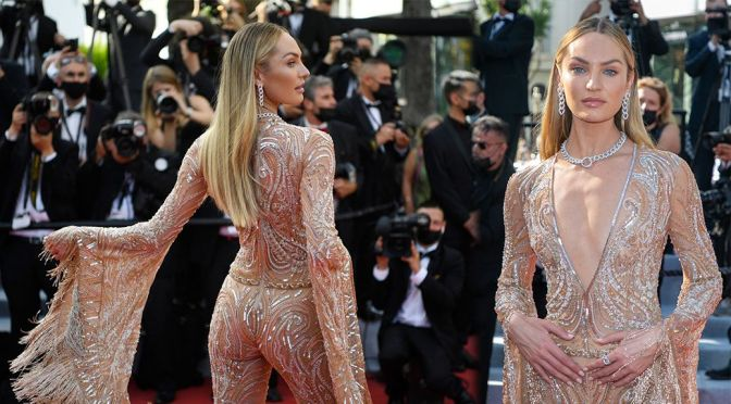 """Candice Swanepoel – Stunning Body in a Sheer Dress at """"Annette"""" Premiere in Cannes"""