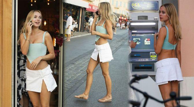Kimberley Garner – Gorgeous Long Legs in Mini Skirt Out in Saint Tropez
