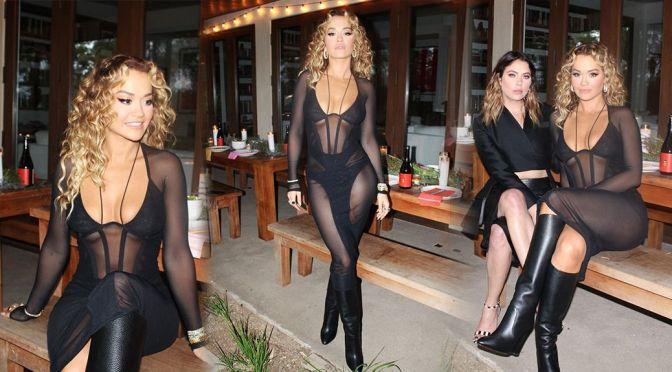 Rita Ora – Stunning Body in a Sexy See-Through Black Dress