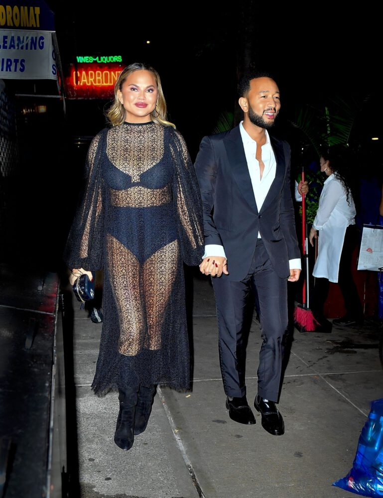 Chrissy Teigen Sexy In Sheer Outfit