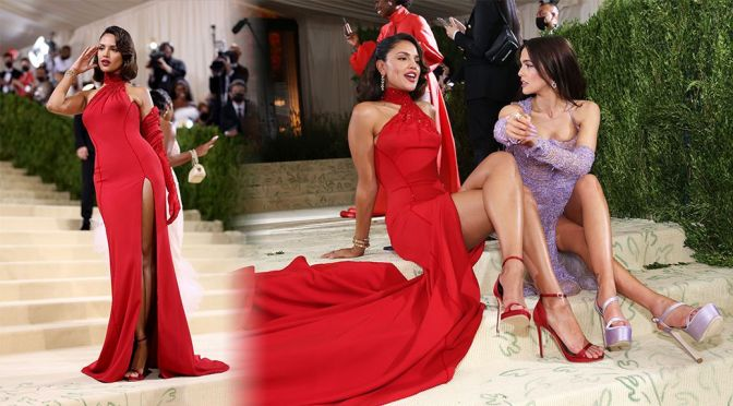 Eiza Gonzalez – Gorgeous Legs in Sexy Red Dress at 2021 Met Gala in New York