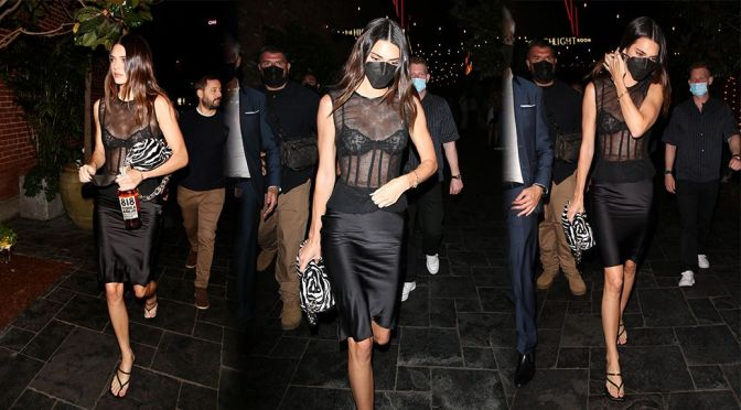 Kendall Jenner – Gorgeous in a See-Through Bra at Beauty & Essex in Hollywood