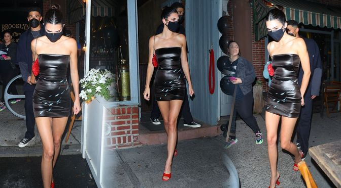 Kendall Jenner – Sexy Legs in Short Tight Dress atLucali in New York