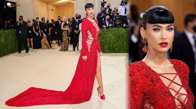 Megan Fox – Beautiful Boobs in Red Dress at 2021 Met Gala in New York