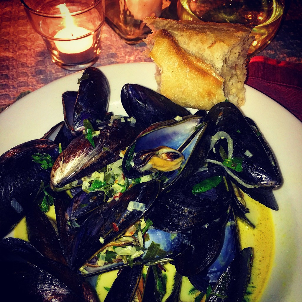 Steamed Mussels in a White Wine, Curry, Cream Sauce