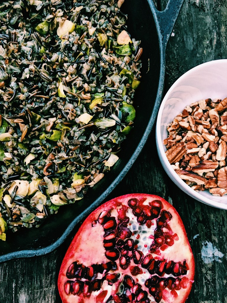 Wild Rice and Brussel Sprout Pilaf with Pomegranate and Toasted Pecans