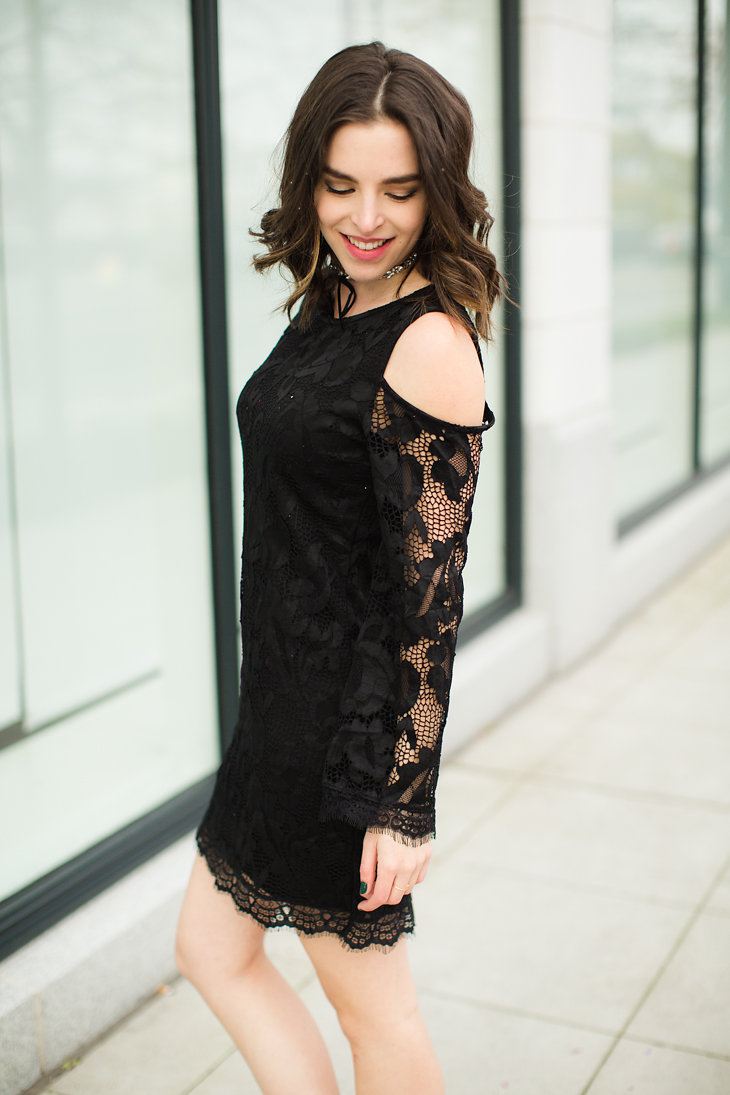 black lace cold shoulder dress new years eve