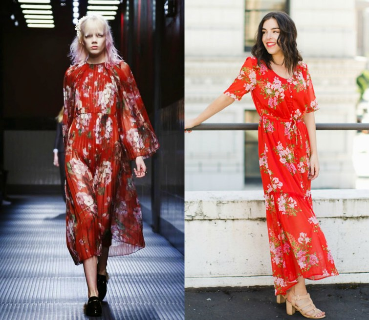 Gucci red floral dress Who What Wear dress