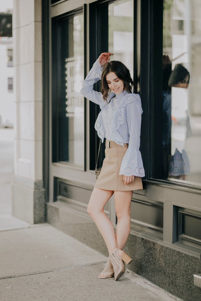 Gab and Kate Jules Embroidered Blue Ruffle Blouse, Mia Carolyn shoe