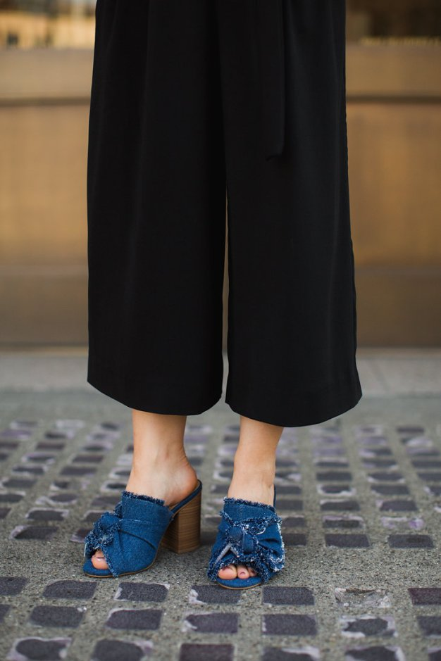 MIA Denim Tie Mules and black culottes