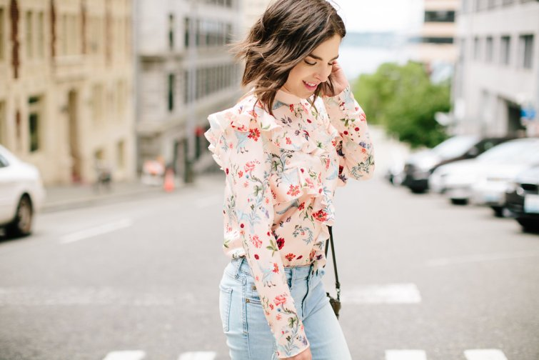 Ruffle top outfit, statement blouse with denim