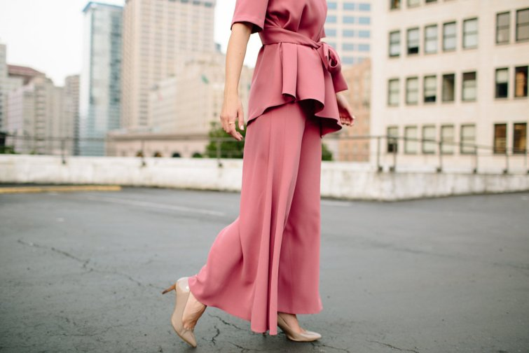 Matching trousers and pants with wrap tie blouse pink