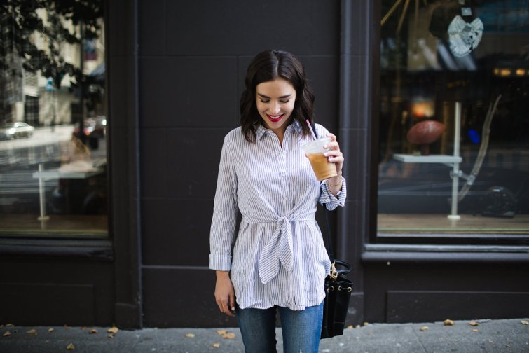 Button up collared shirt with tie front blouse, Foley and Corinna black crossbody