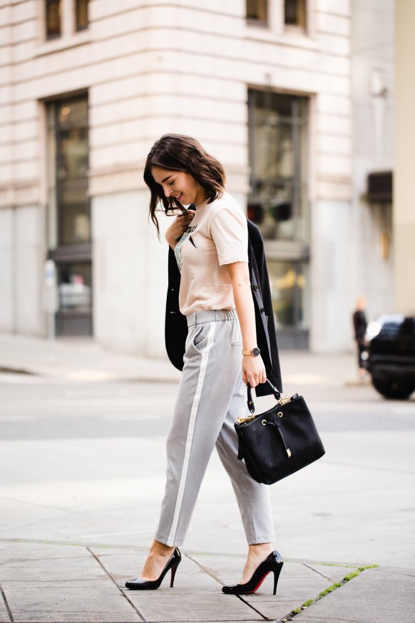 Gray trousers with white track pant stripe