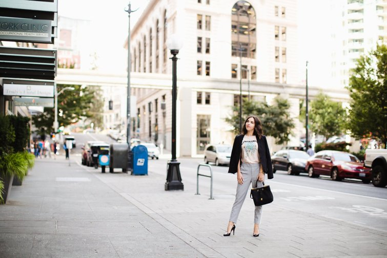 Street style work outfits fashion blogger seattle