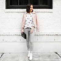 Star printed blouse and pink leather coat (10)