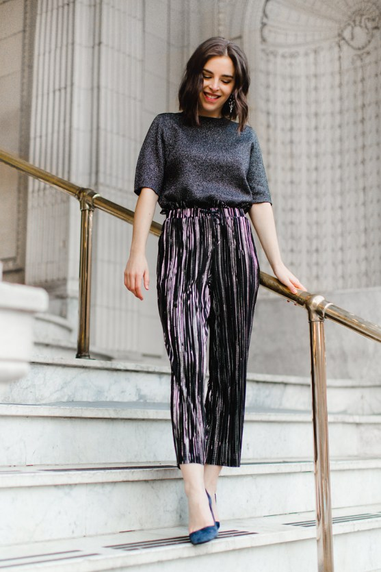 Topshop Metallic pleated pants New Year's Eve outfit fashion blogger (1)