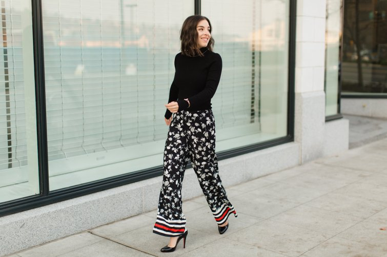 Floral printed pants for women