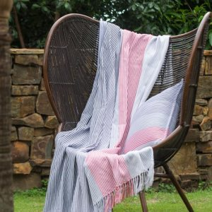 Aranda Pinstripe Throw South Bay Steel Coral 150 x 200cm