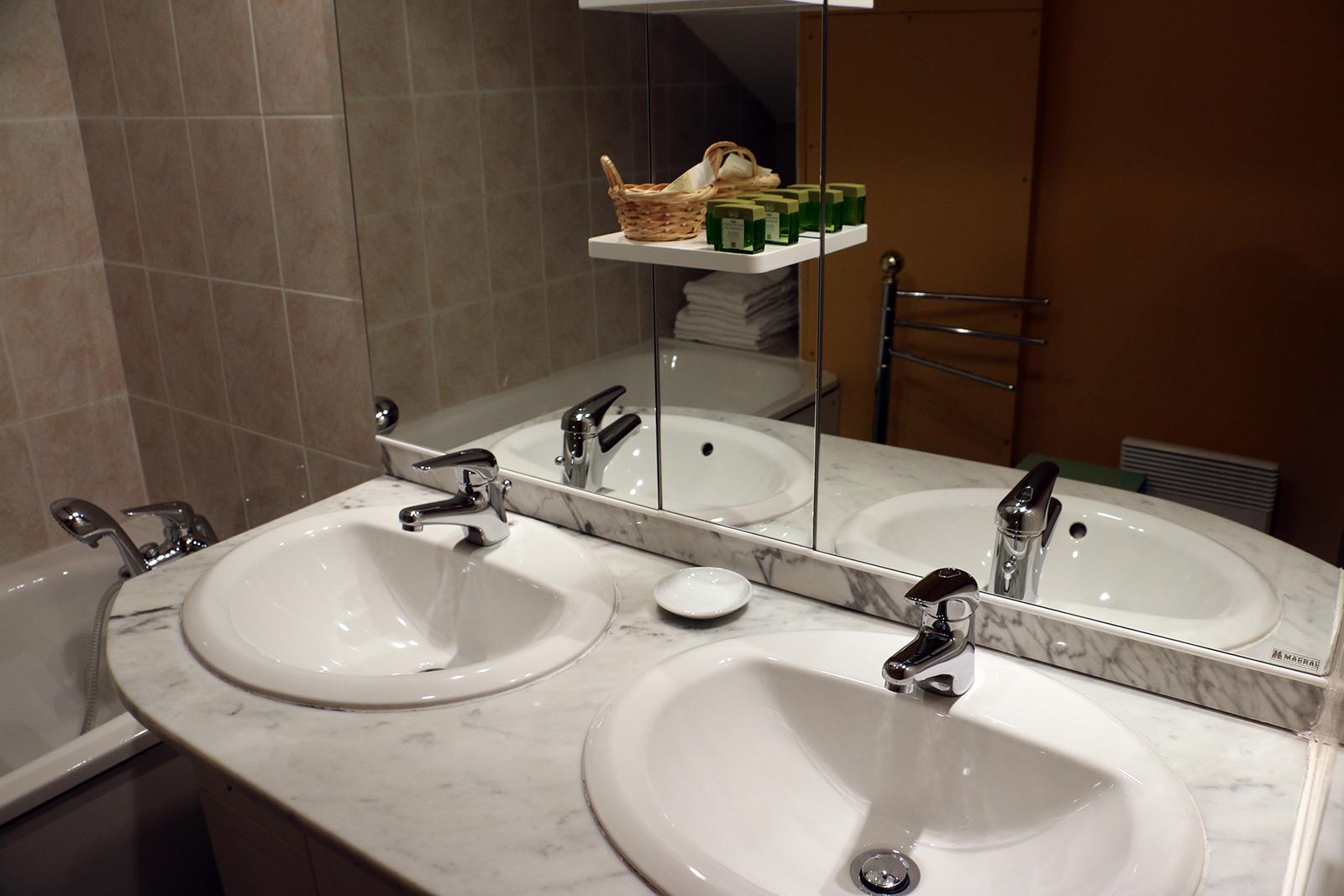 Salle de bains – Chambre double – Maisonnette de l'hôtel du Nord – Restaurant Saint-Georges