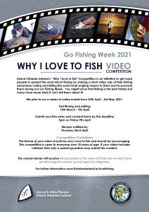 Inland Fisheries Ireland is angling for fishing videos with competition. 'Why I love to fish' video competition launched as part of Go Fishing Week 2021