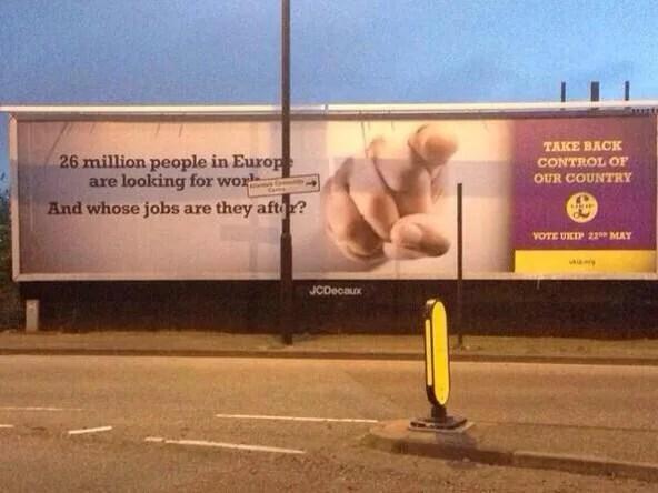 Cartel electoral del UKIP británico contra la inmigración.