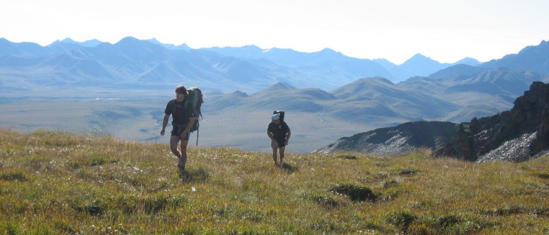 Two hikers make their way through Denali National Park in Alaska to reach Christopher McCandless' Magic Bus site.