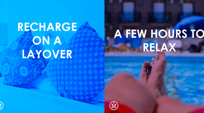 Recharge on your next layover with a room for a few hours.