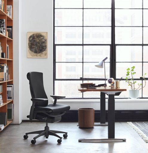 Two fabulous ergonomic work products — Herman Miller's Embody chair with the Renew Sit-to-Stand desk.