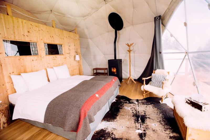 White king size bed with fireplace in white-walled interior dome.