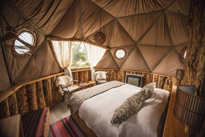 Inside of a suite dome at EcoCamp in Patagonia.