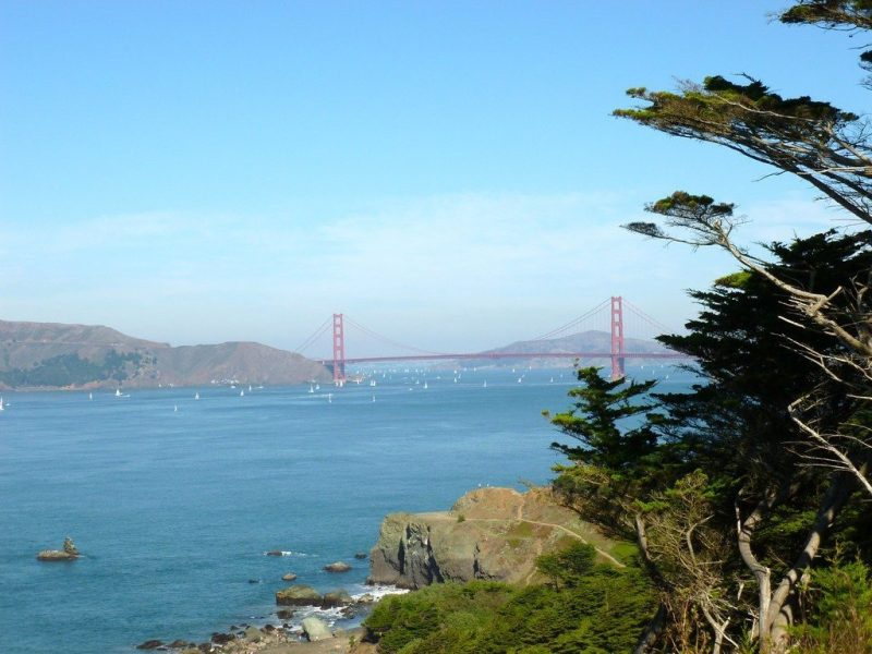 View of the Golden Gate Bridge and the Pacific Ocean as it meets San Francisco Bay.