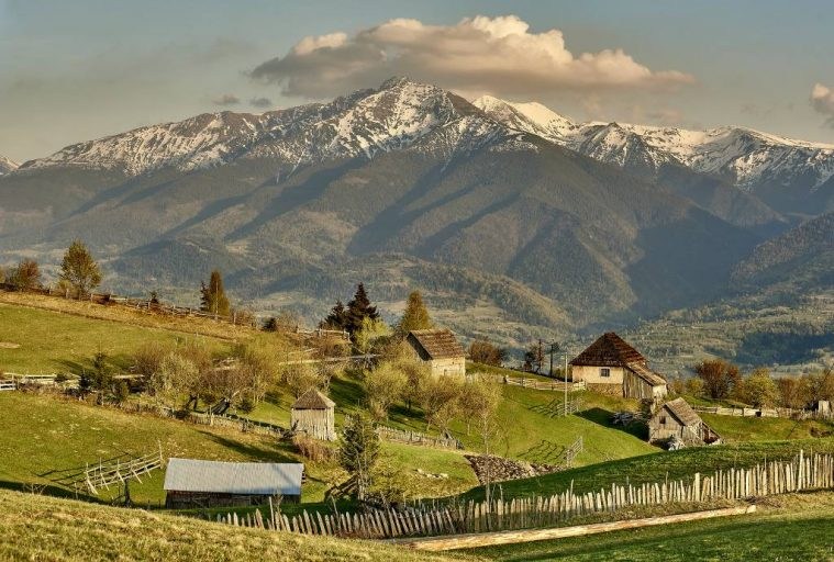 Stunning view of the countryside and Rodnei Mountains, Maramures, Romania.
