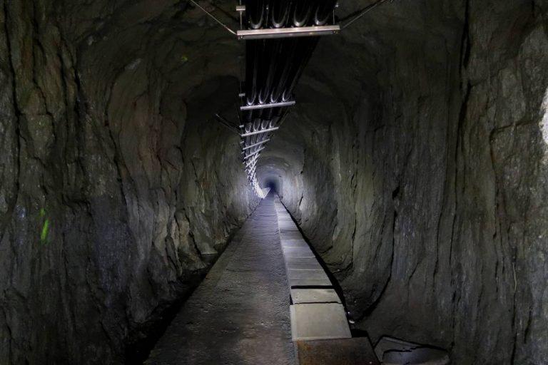 Inside the tunnel of a Swiss hydroelectric plant in Göschenen, Switzerland