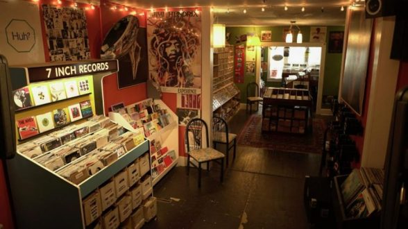 View of 7-inch LPs and other vinyl inside The Groove Records in Nashville.
