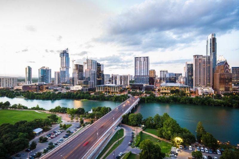 Houston, Texas looking at bridge over Buffalo Bayou and skyline.