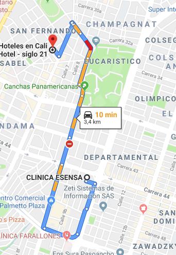 hoteles baratos cerca de la clinica esensa