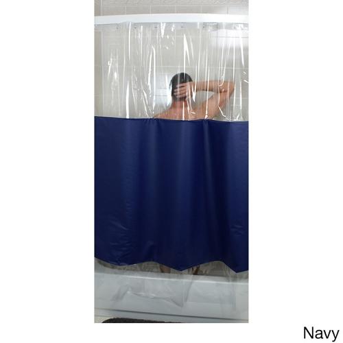 76 w x 74 l regular hang header rujan peek a boo standard hang shower curtain solid color w clear heavy 10 ga vinyl window top and bottom