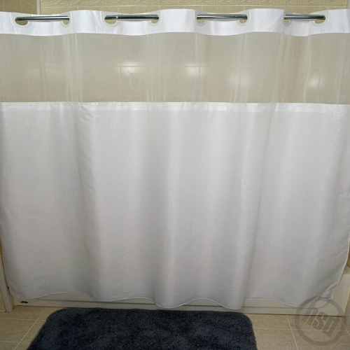 rujan peek a boo moire style polyester shower curtain see thru top window snap away white liner 72x74 low as 54 95
