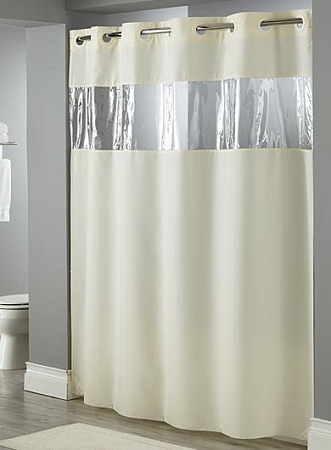 hookless view from the top 100 polyester hotel casino shower curtain w vinyl window 71x74 low as 17 99 each