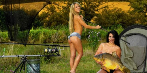 two girls camping topless and fishing
