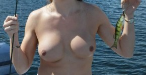 topless country girl fishing