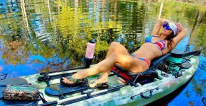 bikini fishing babe in a kayak