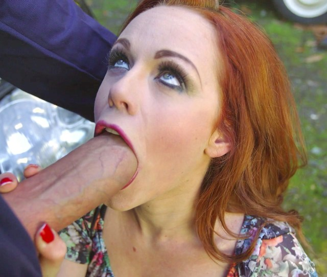 Stunning Redhead Ella Hughes Making A Blowjob For A Mechanic Outdoor Near Her Broken Car