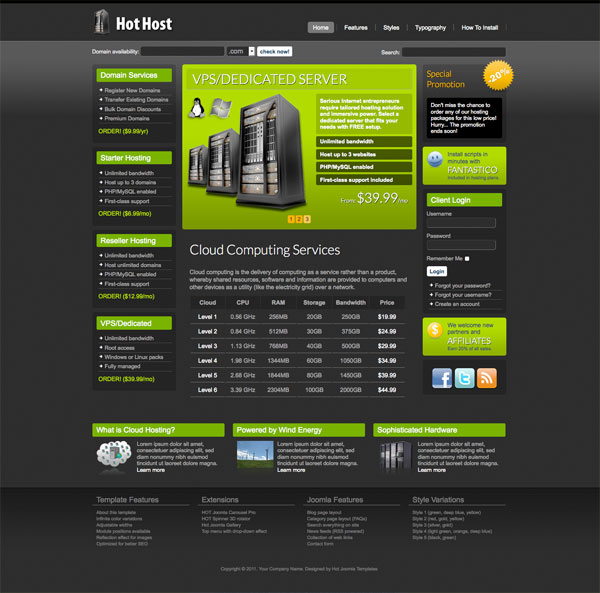 Joomla Hosting Template Hot Host HotThemes