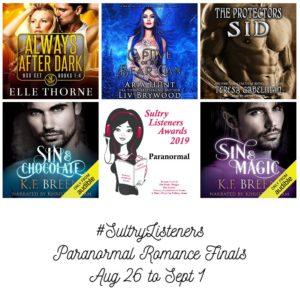 Audiobook Cover Collage: Sultry Listener Awards 2019 - PNR Finals Aug 26- Sept 1