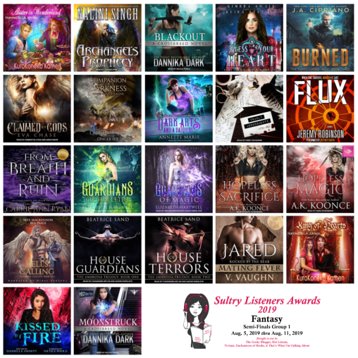 Audiobook Cover Collage: Sultry Listener Awards 2019 - Fantasy Semi-Finals Aug 5-11