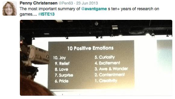 Ten Postive Emotions while Gaming